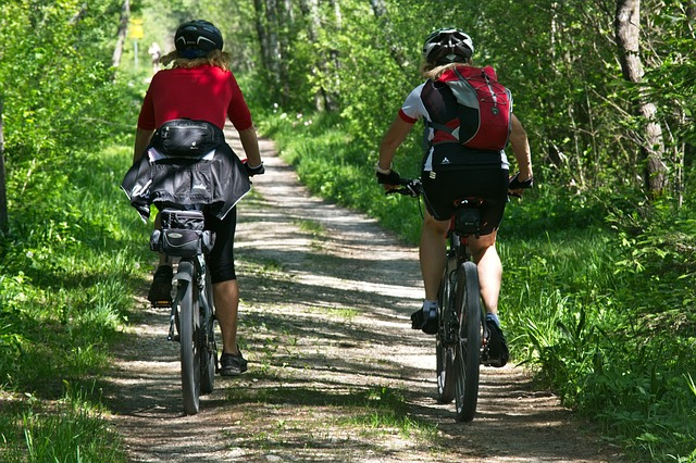cyklisti v lese