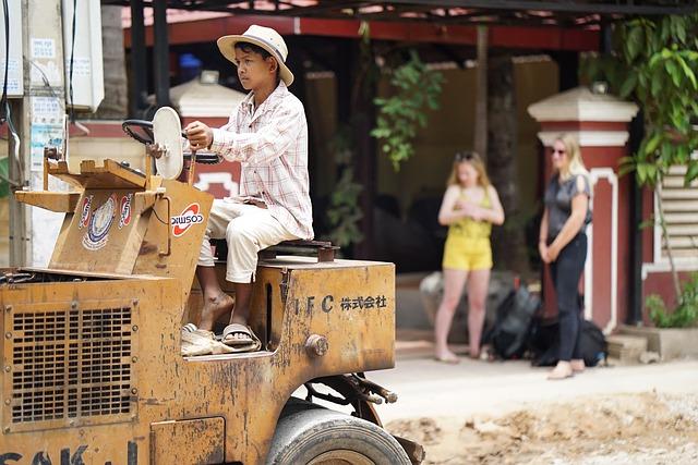 Pracující chlapec v Kambodže